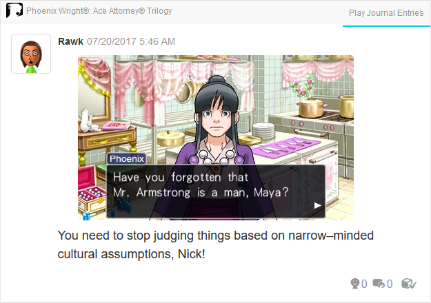 Phoenix Wright Ace Attorney Trials and Tribulations have you forgotten that Mr. Armstrong is a man?