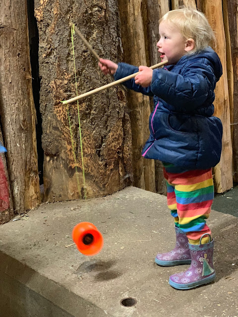 Toddler spinning a diabolo at Marsh Farm Circus Skills session