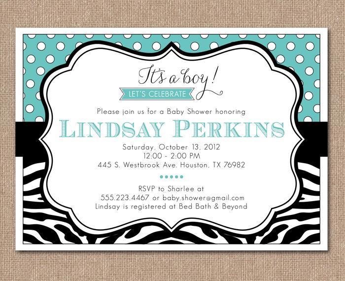 Kimberly J Design Zebra Baby Shower Invitation