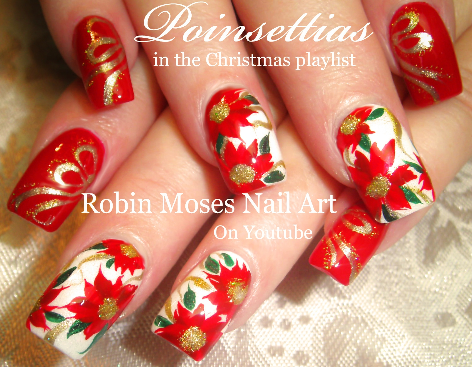 Robin moses nail art beautiful christmas nails red poinsettias an error occurred prinsesfo Choice Image