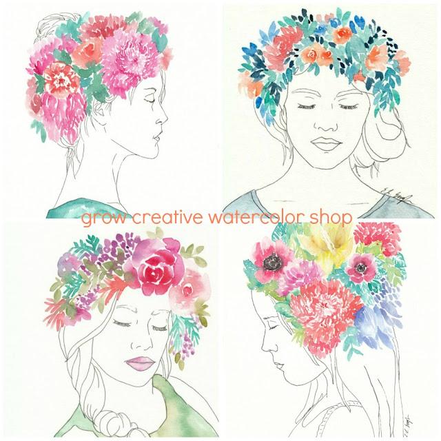 Watercolor Flower Girl Paintings Series by Elise Engh