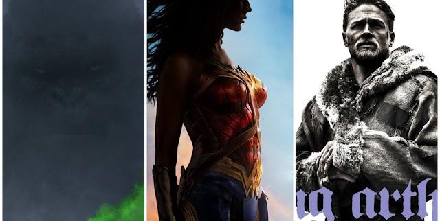SDCC   Warner Bros divulga primeiros pôsteres de A Ilha da Caveira, Rei Arthur: A Lenda da Espada & Mulher Maravilha