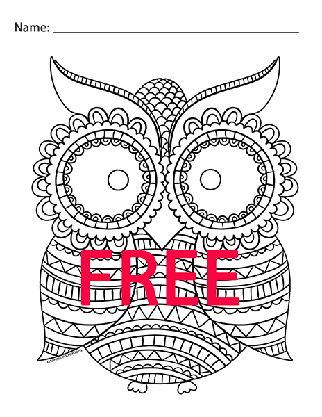 Johnson Creations An Owl To Color Free