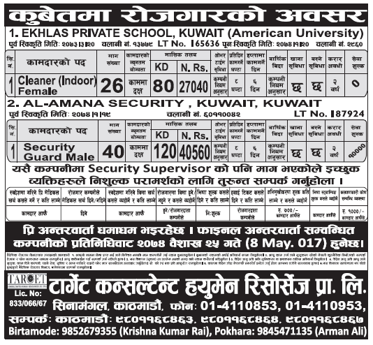 Jobs in Kuwait for Nepali, Salary Rs 40,560