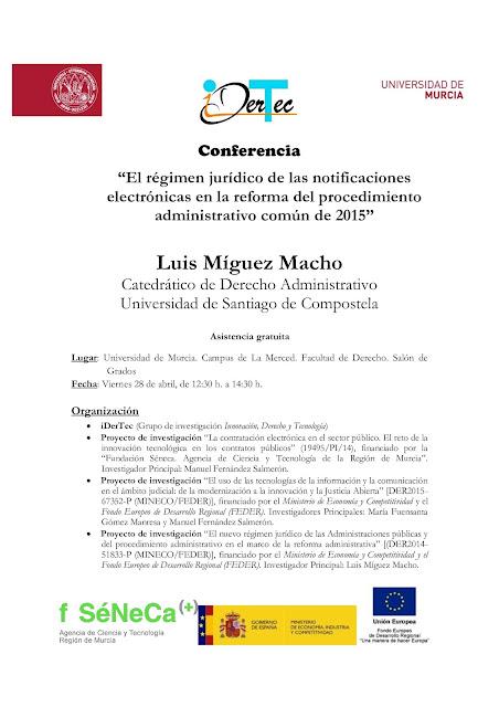 """Conferencia: """"El régimen jurídico de las notificaciones electrónicas en la reforma del procedimiento administrativo común de 2015″"""