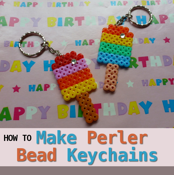 How to Make a Perler Bead Keychain Step by Step Instructions Making Keyring Hama Fused Beads Craft Tutorial by CraftyMarie