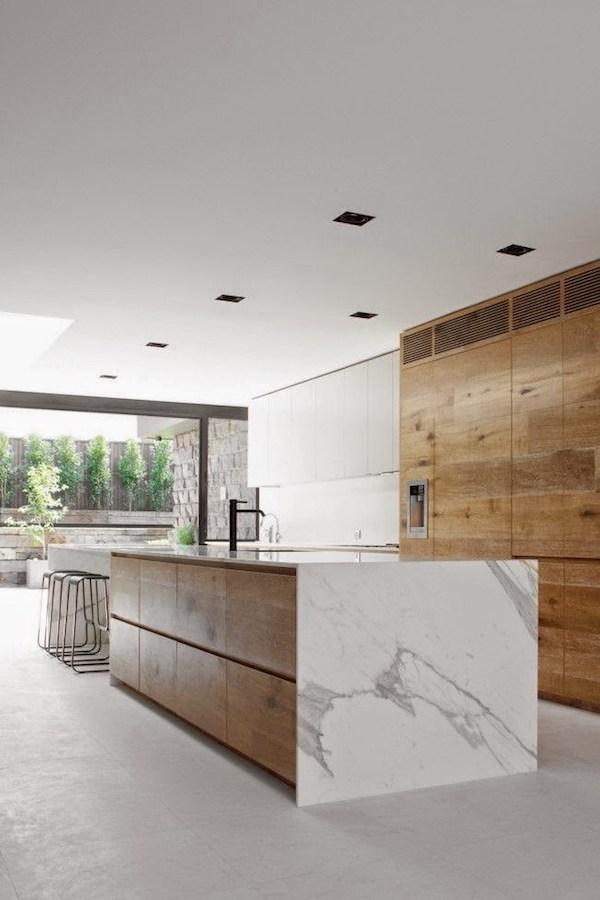 drewno, kuchnia, biała, nowoczesna