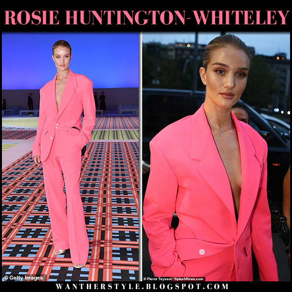 Rosie Huntington-Whiteley in neon hot pink jacket and pants versace fashion week style september 21