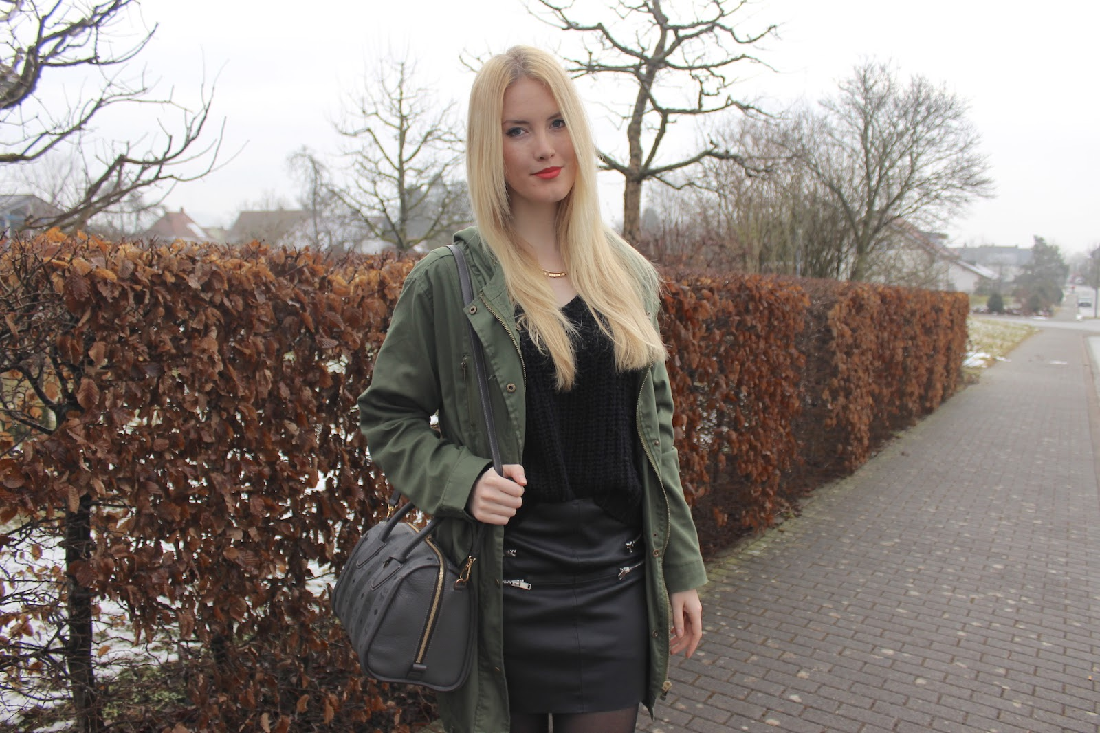TheBlondeLion Howtostyle Oversized Parka Leather Skirt