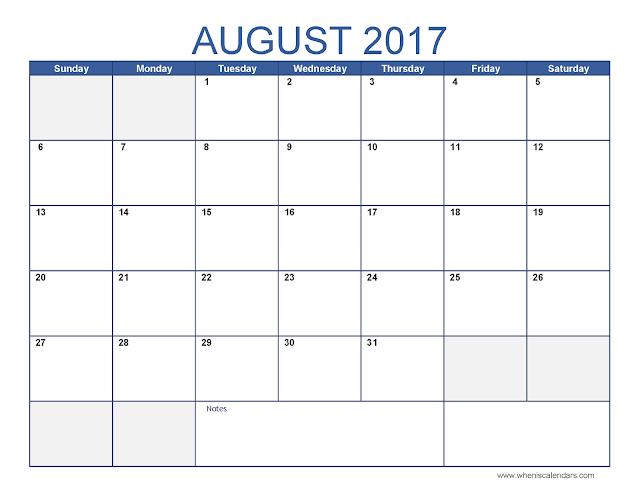 August 2017 Calendar, August 2017 Calendar Printable, Calendar August 2017, August 2017 Calendar Template, Free August Calendar 2017
