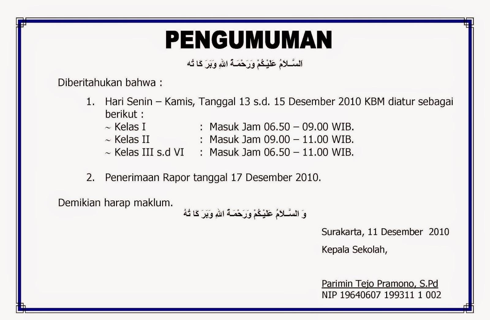 contoh pengumuman bahasa indonesia