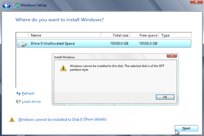 Cara Memperbaiki Windows Cannot be Installed to This Disk The Selected Disk is of the GPT Partition Style