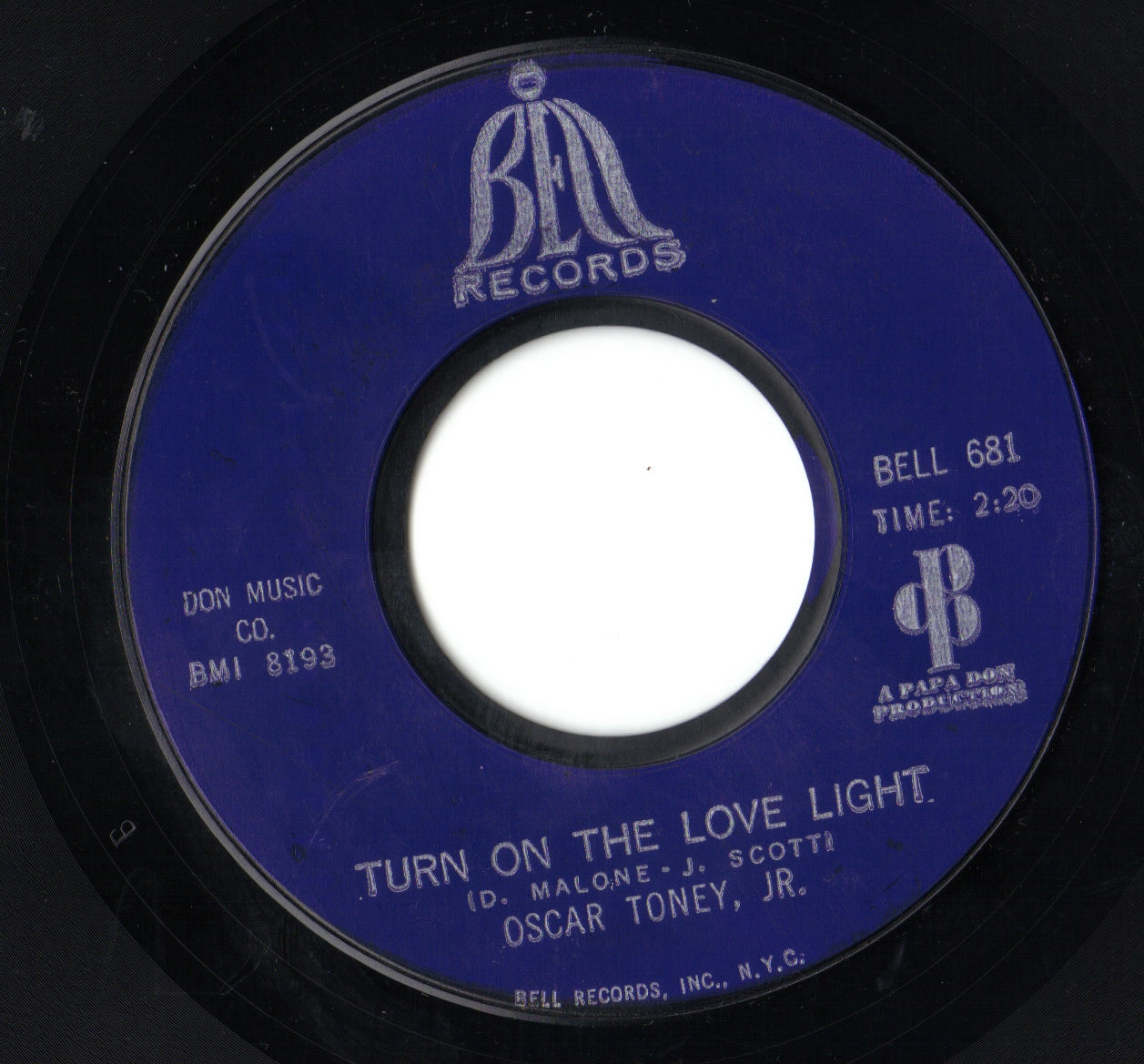 Oscar Toney Jr. - Turn On Your Love Light / Any Day Now