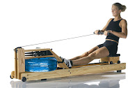 WaterRower Natural with recoil belt & pulleys, countoured seat with 4 corner wheels that glide on dual rails