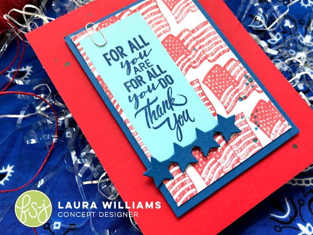 Use Fun Stampers Journey's stamp sets: All You Do, Old Glory, and Freedom Sparkle. These red rubber stamps work so well together to create patriotic paper crafts of all kinds. #funstampersjourney #handamdecards #patrioticcrafts #lauralooloo