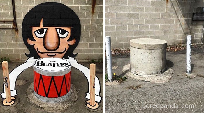 10+ Incredible Before & After Street Art Transformations That'll Make You Say Wow - Ringo Starr Street Art In Barcelona, Spain
