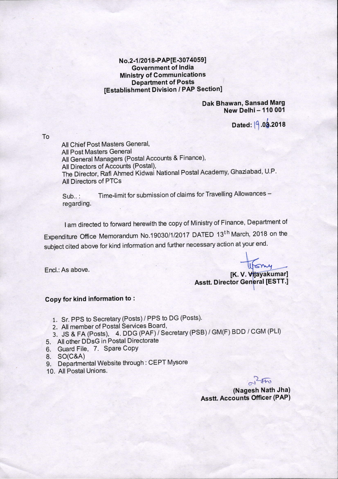 Post Order – Time-limit for submission of claims for
