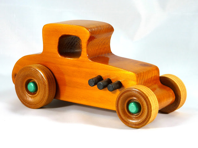 Right Front - Wooden Toy Car - Hot Rod Freaky Ford - 37 T Coupe - Pine - Amber Shellac - Metallic Green Hubs