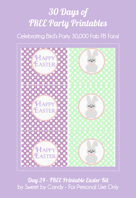 Free Printable Purple & Green Easter Decorations - via BirdsParty.com