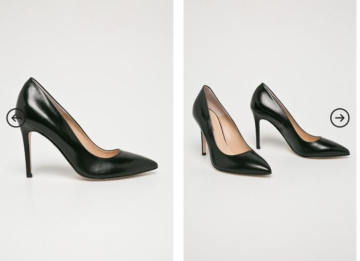 Solo Femme - Pantofi cu toc inalt negri din piele naturala