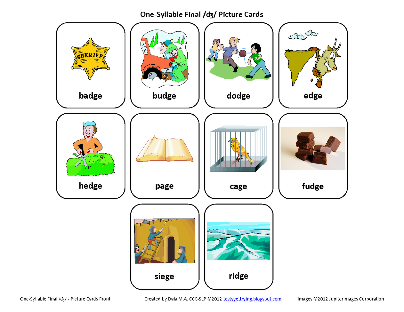 Testy Yet Trying Final J Free Speech Therapy Articulation Picture Cards