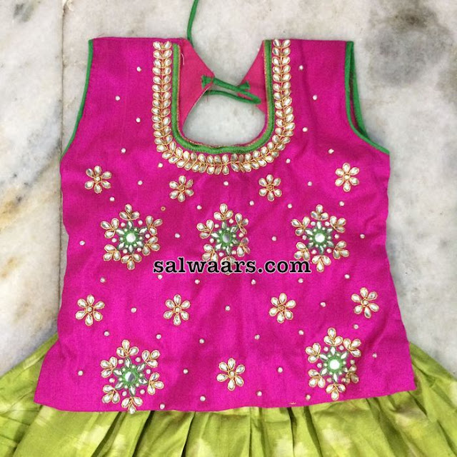 Green Pochampally Print Kids Lehenga