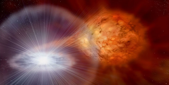 Artist's depiction of an accreting white dwarf Copyright: David A. Hardy/AstroArt.org