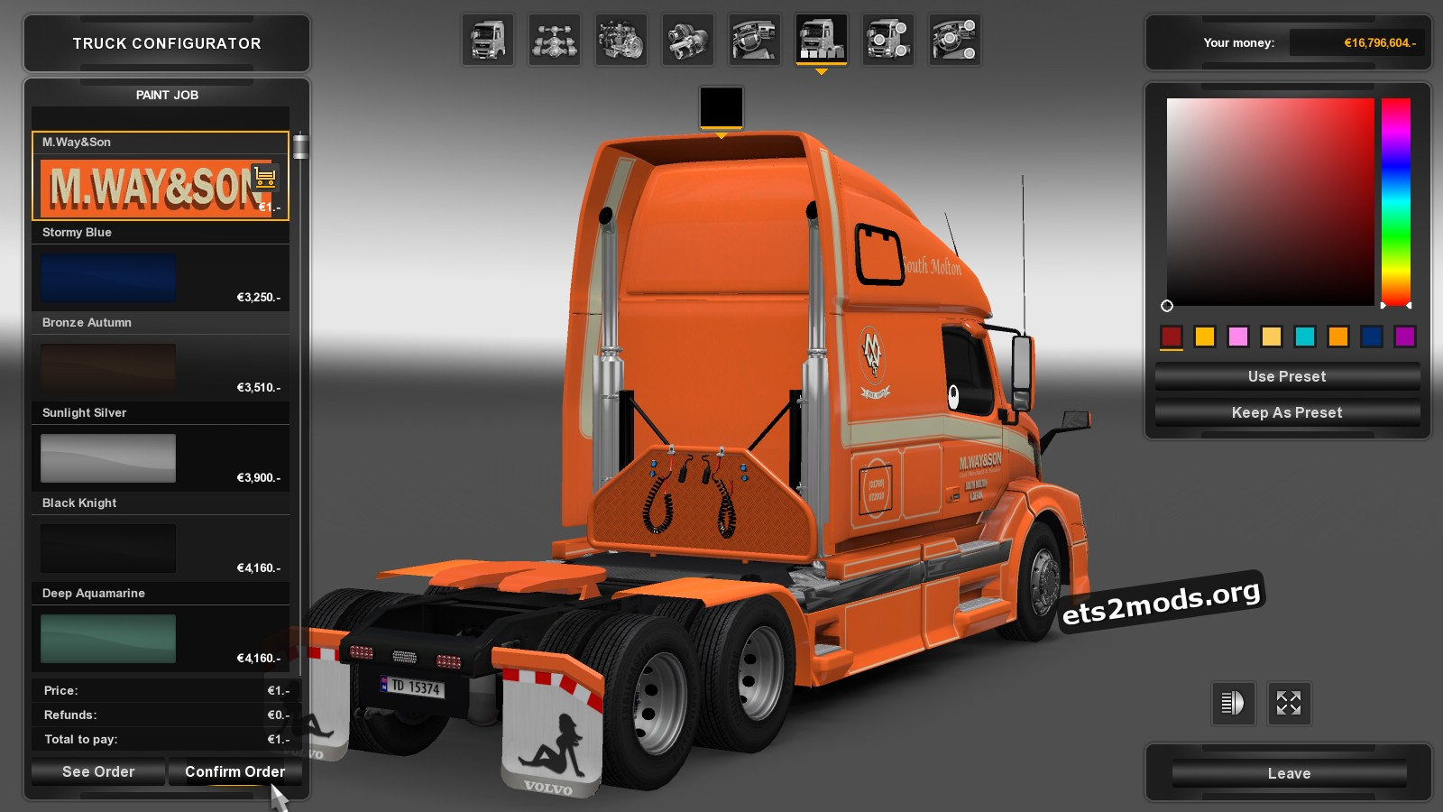 M.Way Son Skin for Volvo VNL 670