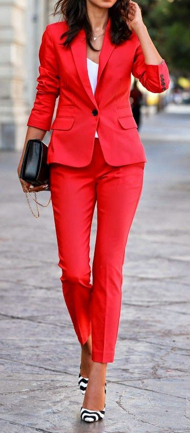 beautiful red suit + bag + stripped heels