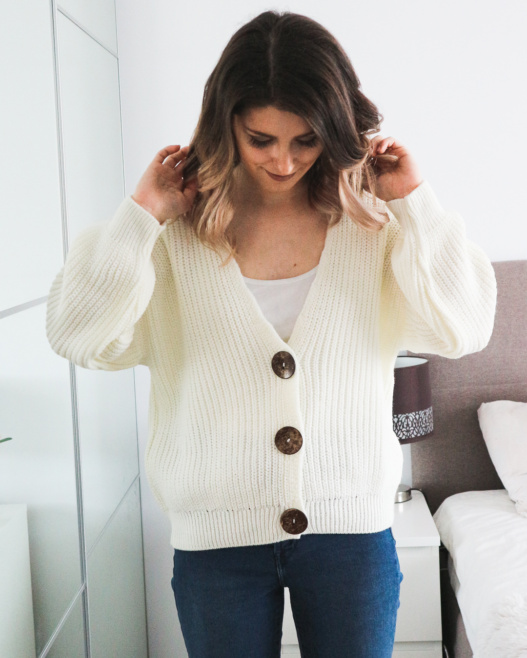 ASOS off-white cardigan with buttons