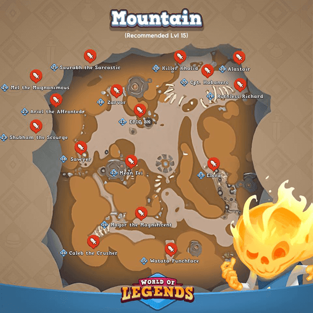 World of Legends: Mountain Map and Boss Locations