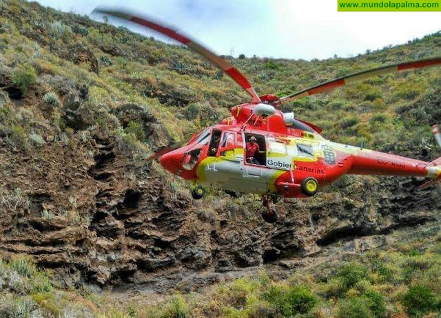 Un hombre herido ayer tras caerse en un barranco de Tijarafe