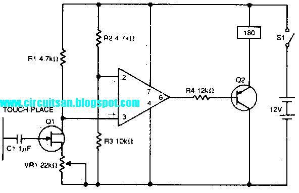 Simple Touch Sensitive Switch Circuit Diagram