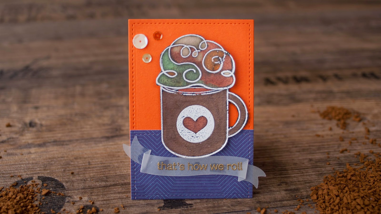 SSS october card kit - hot chocolate with perfect pearls invitation - orange background