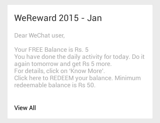 WeChat Free Recharge back again on New Year Offer-2015(Expired