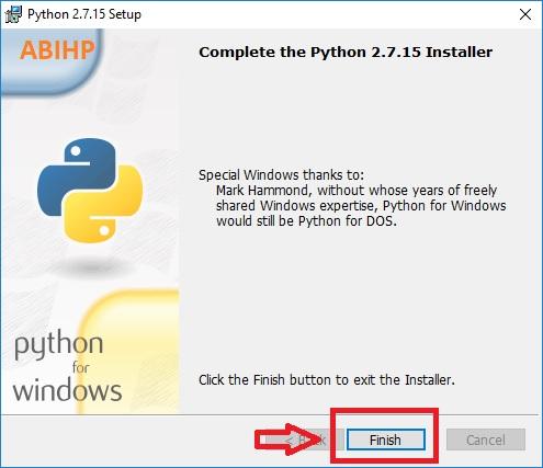 Klik finish untuk menandai proses instalasi Python sudah selesai.