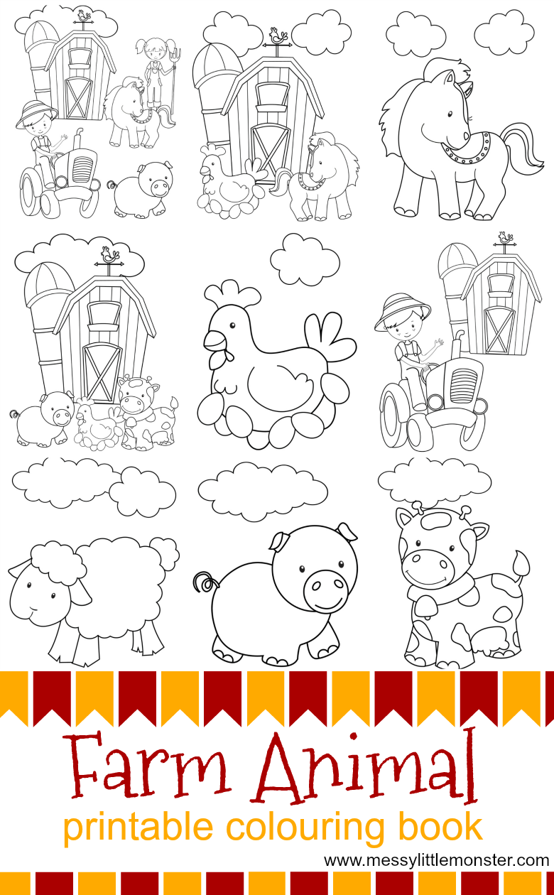 Kids farm animal printable colouring pages to download (for free) and print out.  The free printables include farm animals, a farmyard and a tractor. Animals include a cow, pig, hen, sheep and horse. Great for toddlers and preschoolers working on a farmyard project.