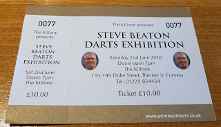 Ticket for the Steve Beaton Darts Exhibition at The Kill One pub in Barrow-in-Furness