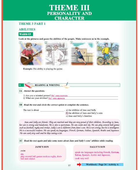 9. Sınıf Yıldırım Yayınları İngilizce A1.1 Ders Kitabı 37. Sayfa Cevapları Theme 3 Personality and Character