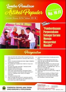 [Gratis] Lomba Menulis Artikel Populer 2018 di Pemprov Jawa Tengah Hadiah 16 Jt