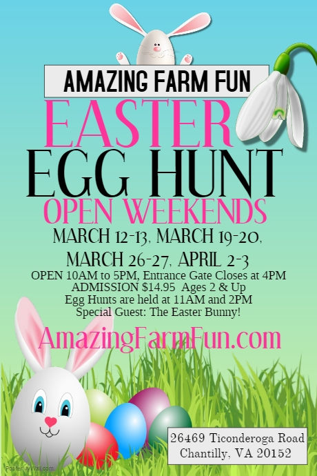 Easter egg hunts 2016 prince william county moms when when march 1213 1920 2627 and april 23 at 11am and 2pm where ticonderoga farms what egg hunts and farm fun the easter bunny will make negle Gallery