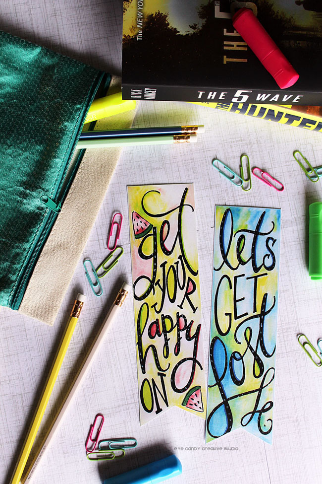 back to school, bookmarks, watercolor, hand lettering, illustration, tombow