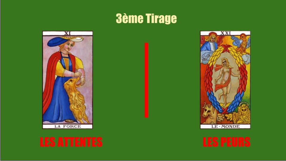 Le troisième tirage tarot de marseille gratuit immediat avec les cartes de la force et du monde