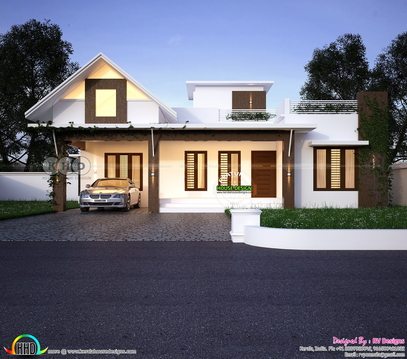 1090 square feet 2 bedroom mixed roof home kerala home design and floor plans - Two bedroom houses attic ...