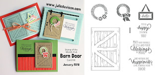 Stampin' Up! Barn Door Card Kit for January 2018 Stamp of the Month Club by Julie Davison www.juliedavison.com/clubs