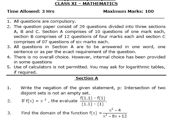Sample paper class 11 mathematics