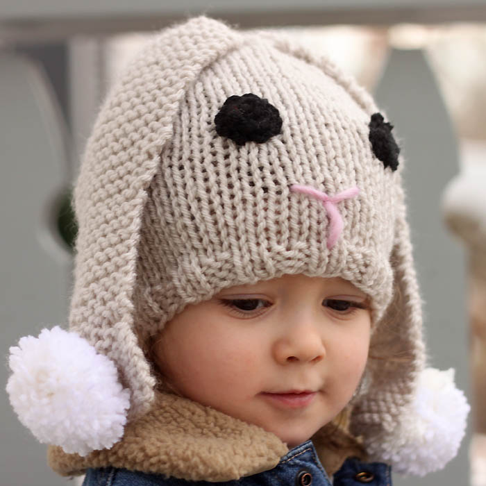 Knitting Pattern Books Hats : Bunny Baby Hat Free Knitting Pattern - Gina Michele