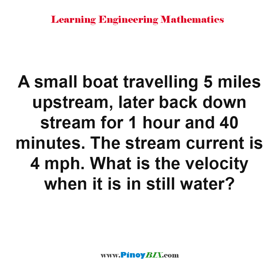 What is the velocity when it is in still water?