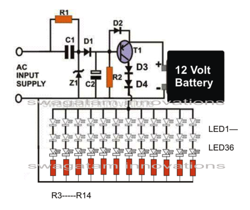 CIRCUIT DIAGRAM FOR 230V AC TO 12V DC