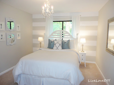 The Guest Bedroom Design 2 Was Painted In Behr Silver Drop Flat White Stripe Ultra Pure